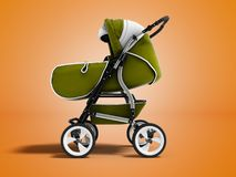 Modern green baby stroller transformer all-season 3d render on o royalty free illustration