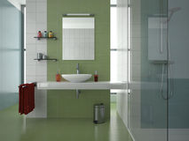Modern green bathroom. Modern bathroom with green, blue and white tiles Royalty Free Stock Photography