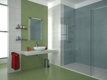 Modern green bathroom. Modern bathroom with green, blue and white tiles stock illustration