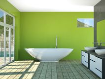 Modern green bathroom interior 3d rendering mock up. Modern bathroom interior 3d rendering mock up with bathtub Stock Images