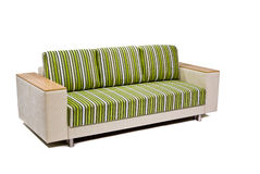 Modern green-beige sofa isolated on white Royalty Free Stock Photography