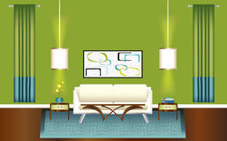 Modern Green and Blue Living Room Royalty Free Stock Image