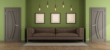 Modern green and brown living room Stock Image