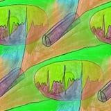 Modern green, brown seamless  watercolor artist wallpaper textur Stock Photos