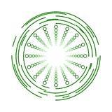 Modern Green Circles and Spheres Icon Design Stock Photo