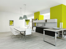 Modern green colored kitchen interior Stock Photos