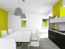 Modern green colored kitchen interior Stock Photography