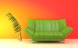 Modern green couch. Royalty Free Stock Photography