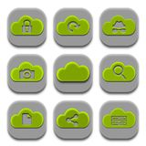 Application Icons and App Logos Collection. Modern Green Coud Application Icons and App Logos Collection Set of Nine Royalty Free Stock Images