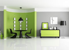 Modern green dining room. With circular wall - rendering Royalty Free Stock Photo