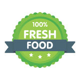 Modern green eco badge. 100 percent fresh food label. Sticker illustration.  Vector Illustration
