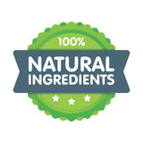 Modern green eco badge. 100 percent natural ingredients label. Sticker illustration.  Vector Illustration
