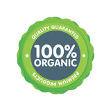 Modern green eco badge. 100 percent organic label. Sticker  illustration Royalty Free Stock Image