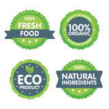 Modern green eco badge set. 100 percent organic fresh food label. Sticker illustration.  Stock Illustration
