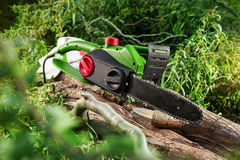 Modern green electrical chainsaw Stock Photo