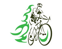 Modern Green Flame Cycling Action Silhouette Logo. Passionate On Fire Cyclist In Action Stock Photo