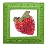 Modern Green Frame with Strawberry Stock Image