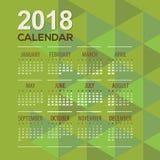 2018 Modern Green Geometric Printable Calendar Starts Sunday. Vector Illustration Stock Image