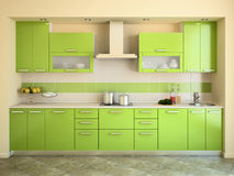 Modern green kitchen. Stock Image
