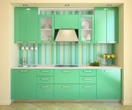 Modern green kitchen. Stock Photos