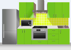 Modern green kitchen interior with refrigerator, microwave. And stove. Vector illustration Royalty Free Stock Photo