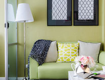 Modern green living room design Royalty Free Stock Image