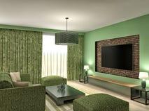 Modern green living room interior design. 3d illustration Royalty Free Stock Image