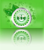 Modern, green, metal, round label with text Bio Royalty Free Stock Image