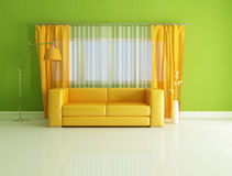 Modern green and orange interior Royalty Free Stock Images