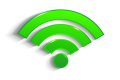Modern green paper WiFi symbol with shadow Royalty Free Stock Photography