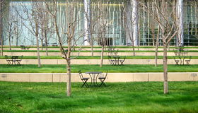 Modern green patio in business district Stock Photography
