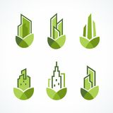 Modern Green Real Estate Logo Set Royalty Free Stock Photo