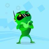Modern Green Robot Holding Hand Chin Pondering Royalty Free Stock Photos