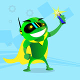 Modern Green Robot Taking Selfie On Cell Smart Phone Royalty Free Stock Image
