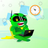 Modern Green Robot Using Laptop Computer Royalty Free Stock Photography