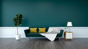 Modern green room interior design,green sofa and plant with wood cabinet on wood flooring and green wall /3d render. Modern green room interior,green sofa and stock illustration