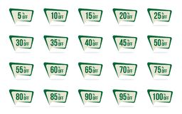 Modern Green Sale and Discount Price Tag Set Vector Promotion Badges Label Designs Template. Modern Green Sale and Discount Price Tag Set 5, 10, 15, 20, 25, 30 stock illustration