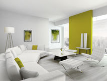 Modern green and white colored living room interior Stock Images