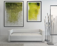 Modern green and white colored living room interior Stock Photo