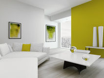 Modern green and white colored living room interior Royalty Free Stock Photo