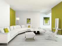 Modern Green And White Colored Living Room Interior Royalty Free Stock Photography