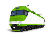 Modern green white electric locomotive Stock Photography