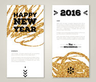 Modern Greeting Card Design with Golden Paint Royalty Free Stock Image