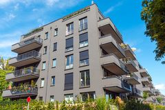 Modern grey apartment buildings seen in Berlin Royalty Free Stock Images