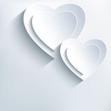 Modern grey background with white paper 3d hearts. Modern stylish grey background with two white paper 3d hearts. Trendy creative background with stylized hearts royalty free illustration