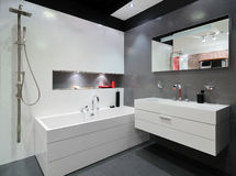 Modern grey bathroom Stock Photography