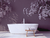 Modern grey bathroom with bathtub. 3d rendering Stock Photography