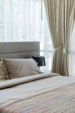 Modern grey bed Royalty Free Stock Photo