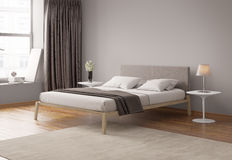 Modern grey bedroom interior Royalty Free Stock Photo