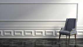 Modern Grey Chair In Upscale Luxury Home With White Walls Stock Images